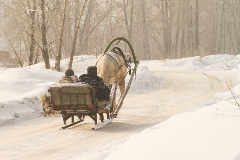 Ένας χωρικός σε ένα χωριό πηγαίνει σε ένα προσωρινό έλκηθρο και τρέχει ένα άλογο, μια σαφής χειμερινή ημέρα στοκ φωτογραφίες