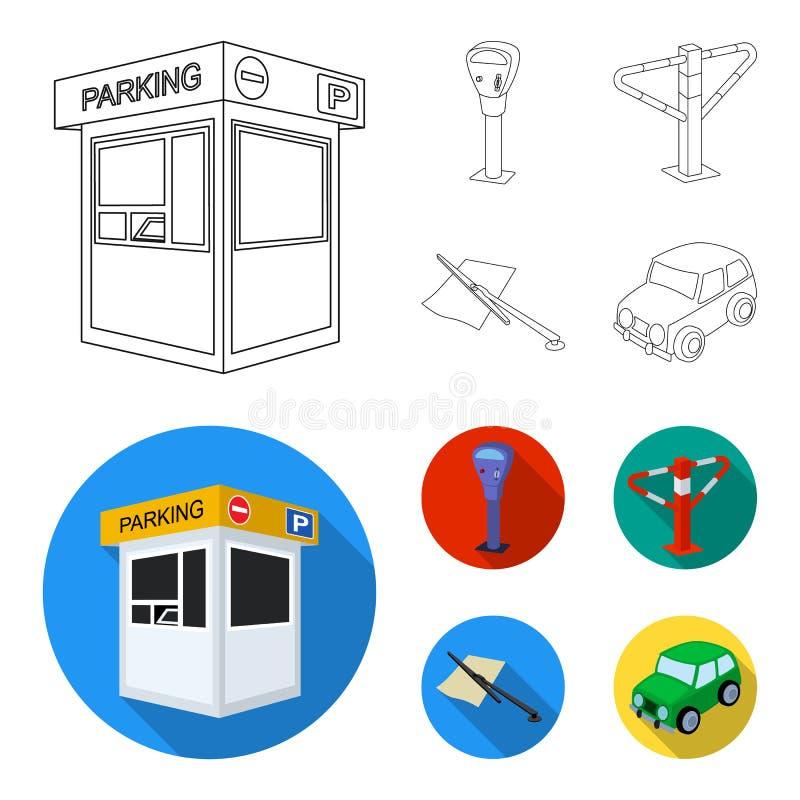 Ένας χώρος στάθμευσης, ένας μετρητής χώρων στάθμευσης, ένας έλεγχος για τις υπηρεσίες, ένα εμπόδιο Καθορισμένα εικονίδια συλλογής απεικόνιση αποθεμάτων