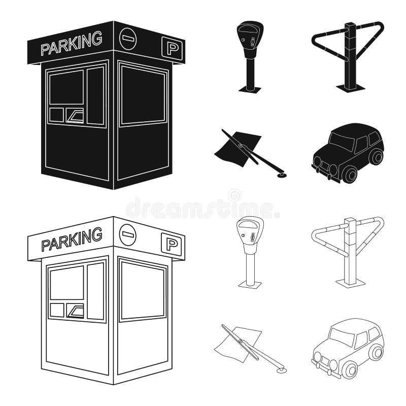 Ένας χώρος στάθμευσης, ένας μετρητής χώρων στάθμευσης, ένας έλεγχος για τις υπηρεσίες, ένα εμπόδιο Καθορισμένα εικονίδια συλλογής διανυσματική απεικόνιση