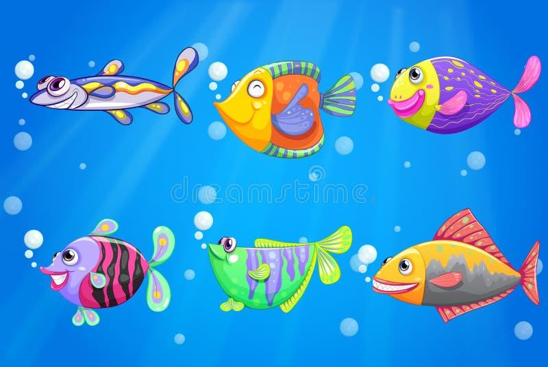 Ένας ωκεανός με έξι ζωηρόχρωμα ψάρια ελεύθερη απεικόνιση δικαιώματος