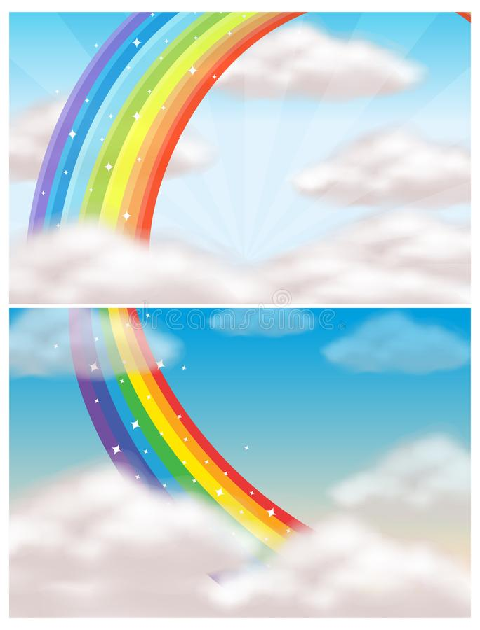 Ένας όμορφοι ουρανός και ένα ουράνιο τόξο ελεύθερη απεικόνιση δικαιώματος