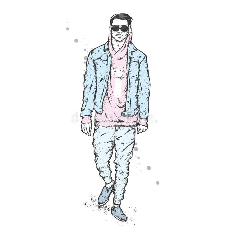 Ένας όμορφος τύπος σε ένα σακάκι, hoodie, τα τζιν και τα μοκασίνια Διανυσματική απεικόνιση για μια κάρτα ή μια αφίσα, τυπωμένη ύλ απεικόνιση αποθεμάτων