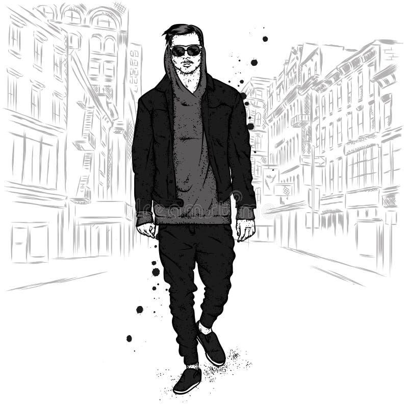 Ένας όμορφος τύπος σε ένα σακάκι, hoodie, τα τζιν και τα μοκασίνια Διανυσματική απεικόνιση για μια κάρτα ή μια αφίσα, τυπωμένη ύλ διανυσματική απεικόνιση