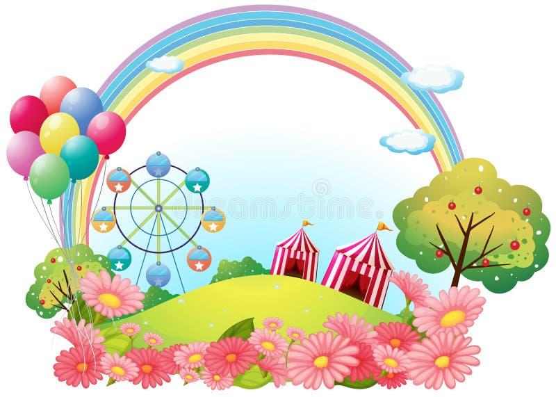 Ένας λόφος με τις σκηνές τσίρκων, μπαλόνια και ferris κυλά απεικόνιση αποθεμάτων