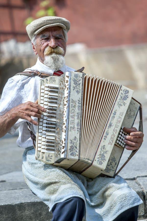 Ένας accordian φορέας αποδίδει στη Βαρσοβία στην Πολωνία στοκ εικόνες