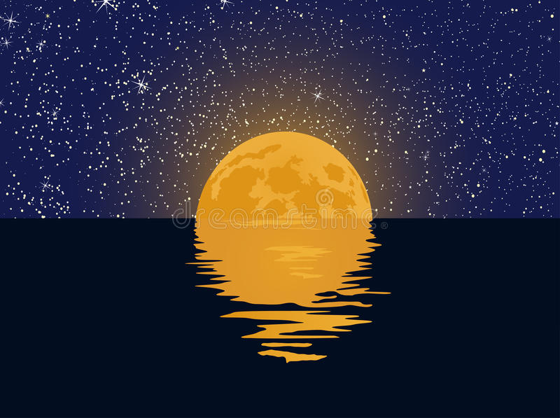 Έναστροι ουρανός και πανσέληνος με την αντανάκλαση στο νερό απεικόνιση αποθεμάτων