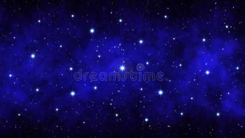 Έναστρος ουρανός νύχτας, σκούρο μπλε διαστημικό υπόβαθρο με το φωτεινό μεγάλο νεφέλωμα αστεριών στοκ φωτογραφίες