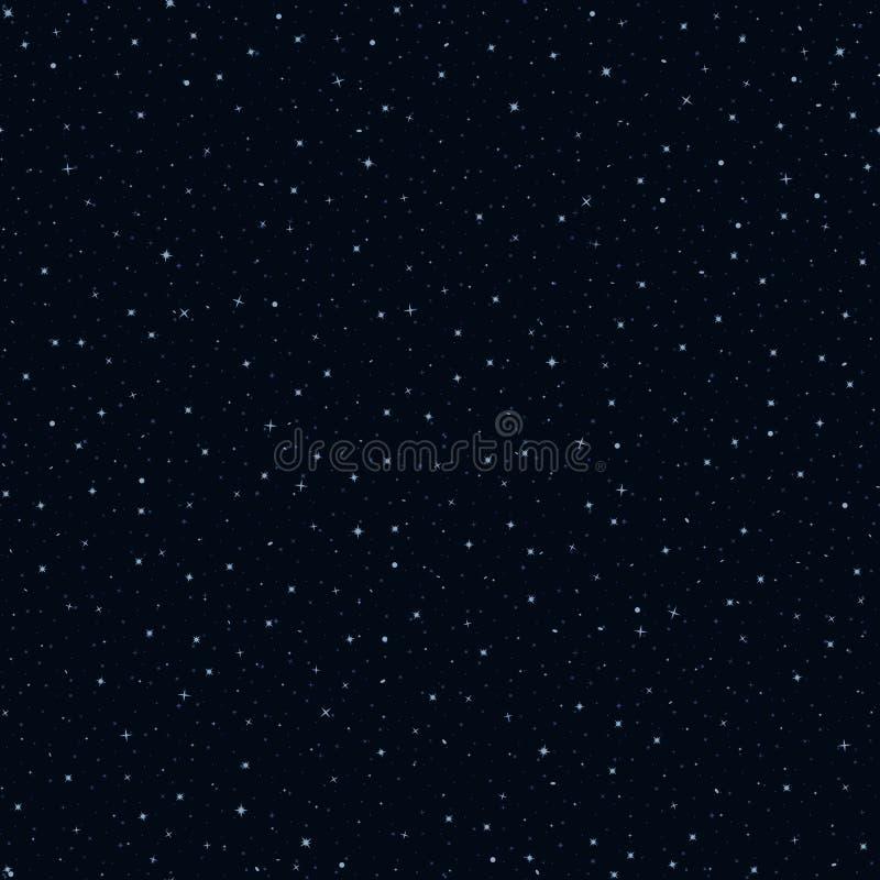 Έναστρος ουρανός νύχτας σκούρο μπλε υπόβαθρο με τα αστέρια E υφαντικό χρώμα επαναλαμβανόμενο υπόβαθρο swatch υφάσματος απεικόνιση αποθεμάτων