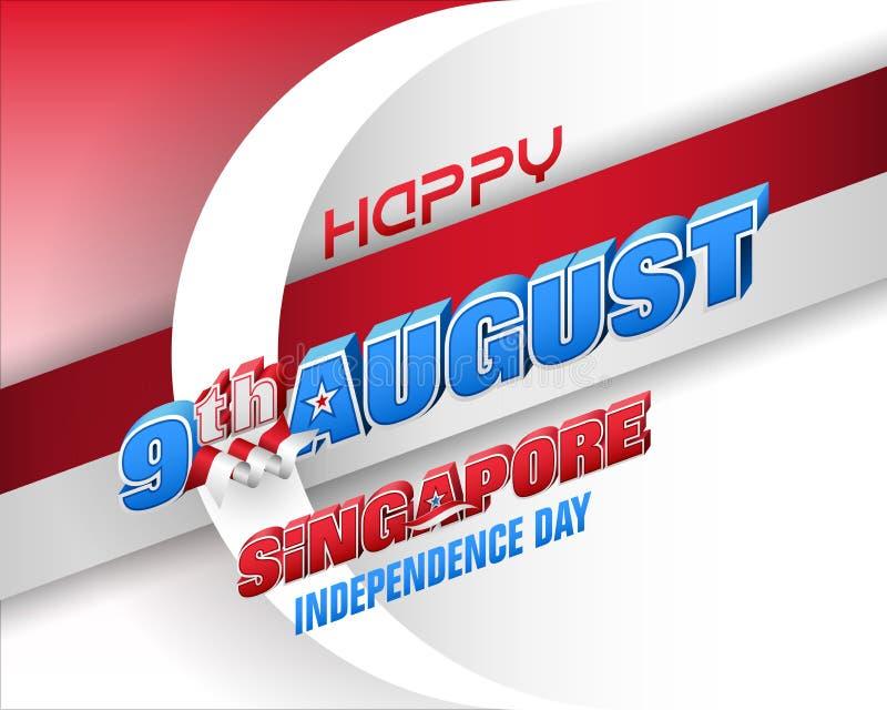 Ένατος Αυγούστου, εθνική μέρα της Δημοκρατίας της Σιγκαπούρης διανυσματική απεικόνιση
