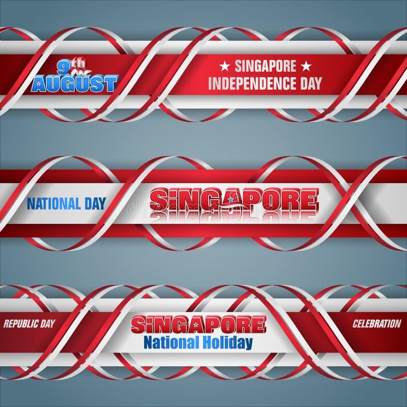 Ένατος Αυγούστου, ημέρα της ανεξαρτησίας στη Σιγκαπούρη, εμβλήματα Ιστού διανυσματική απεικόνιση