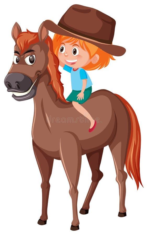Ένα άλογο οδήγησης cowgirl ελεύθερη απεικόνιση δικαιώματος