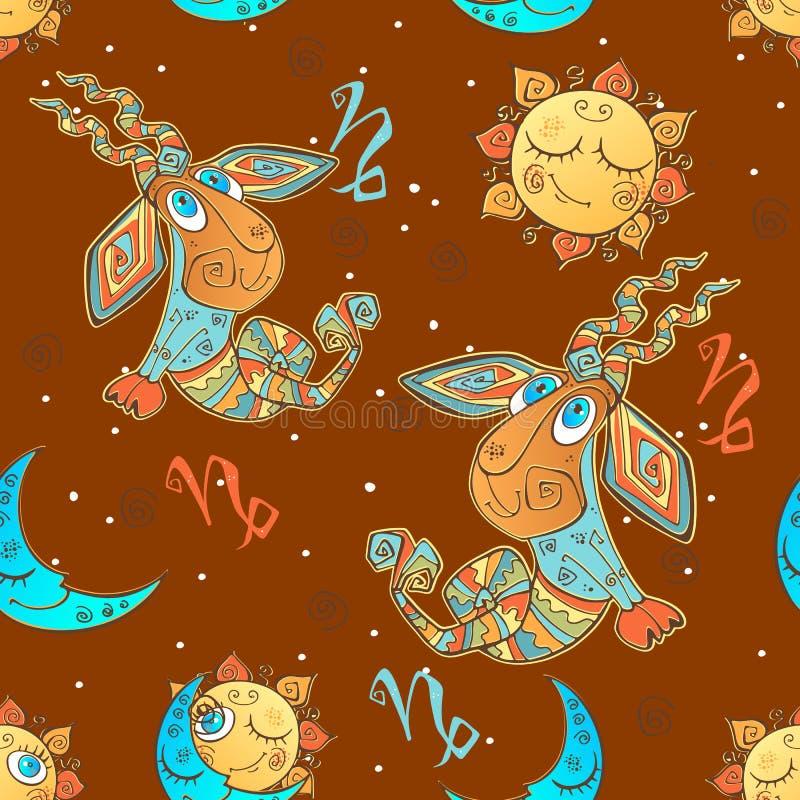 Ένα άνευ ραφής σχέδιο διασκέδασης για τα παιδιά Zodiac σημάδι Αιγόκερος διάνυσμα διανυσματική απεικόνιση