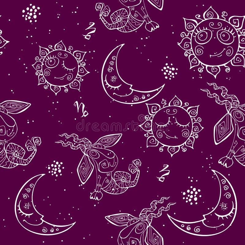 Ένα άνευ ραφής σχέδιο διασκέδασης για τα παιδιά Zodiac σημάδι Αιγόκερος r ελεύθερη απεικόνιση δικαιώματος