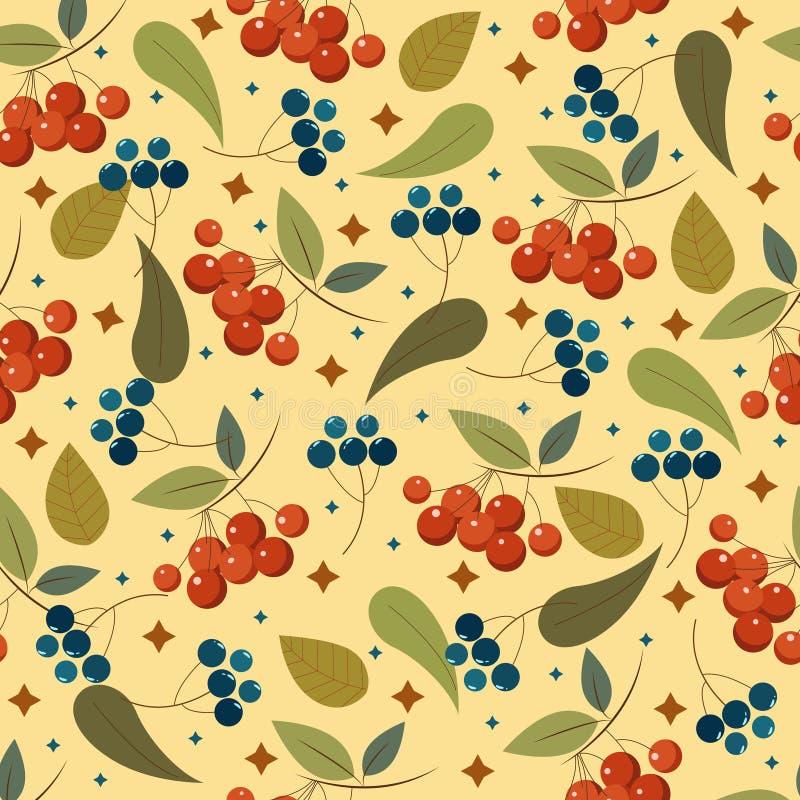 Ένα άνευ ραφής σχέδιο με τα μούρα και τα φύλλα Μια χαριτωμένη διακόσμηση για τα σχέδιά σας διανυσματική απεικόνιση