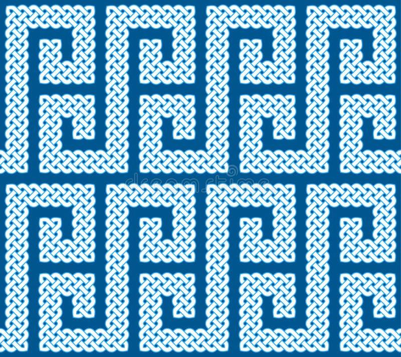 Ένα άνευ ραφής σχέδιο ή σύνορα φιαγμένο από κελτικούς κόμβους που τοποθετούνται σε μια καμπύλη μορφής του S, διανυσματική απεικόν διανυσματική απεικόνιση