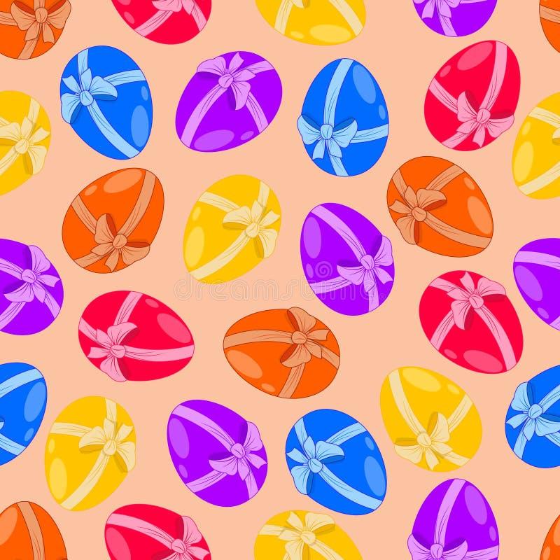 Ένα άνευ ραφής σχέδιο, αυγά Πάσχας με ένα τόξο στοκ εικόνες