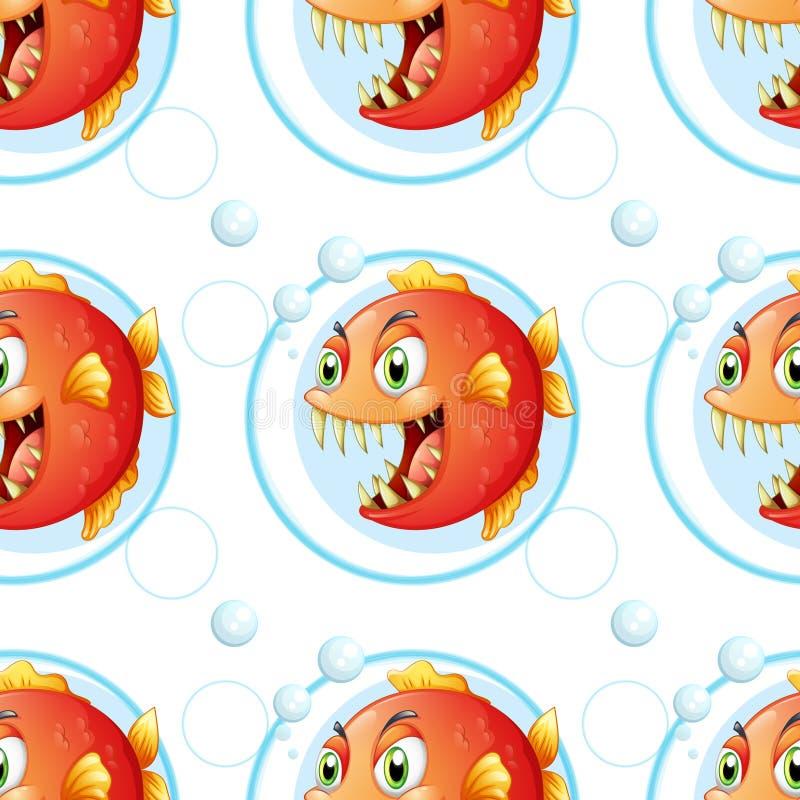 Ένα άνευ ραφής σχέδιο ταπετσαριών με τα ψάρια διανυσματική απεικόνιση