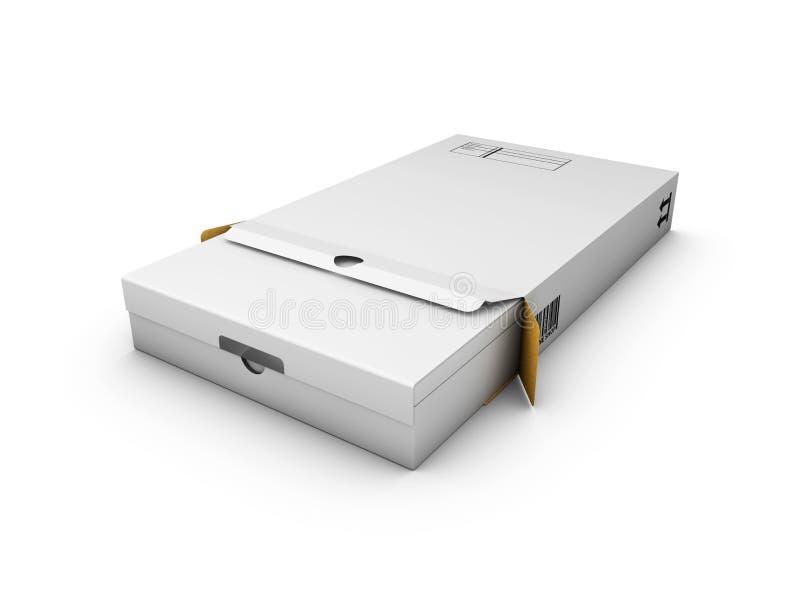 Ένα άσπρο κιβώτιο συσκευασίας η τρισδιάστατη απεικόνιση απομόνωσε το λευκό απεικόνιση αποθεμάτων