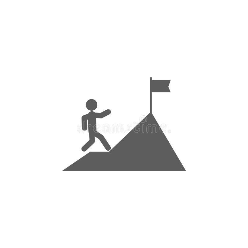 ένα άτομο αναρριχείται σε ένα εικονίδιο βουνών Στοιχείο του εικονιδίου χρηματοδότησης και επιχειρήσεων Γραφικό εικονίδιο σχεδίου  διανυσματική απεικόνιση