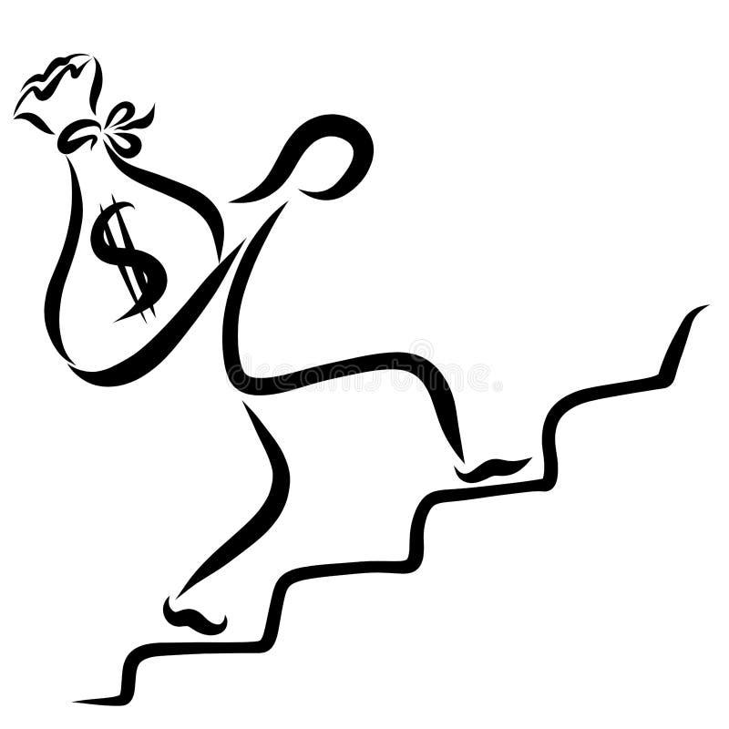 Ένα άτομο αναρριχείται στα σκαλοπάτια με μια βαριά τσάντα των χρημάτων απεικόνιση αποθεμάτων