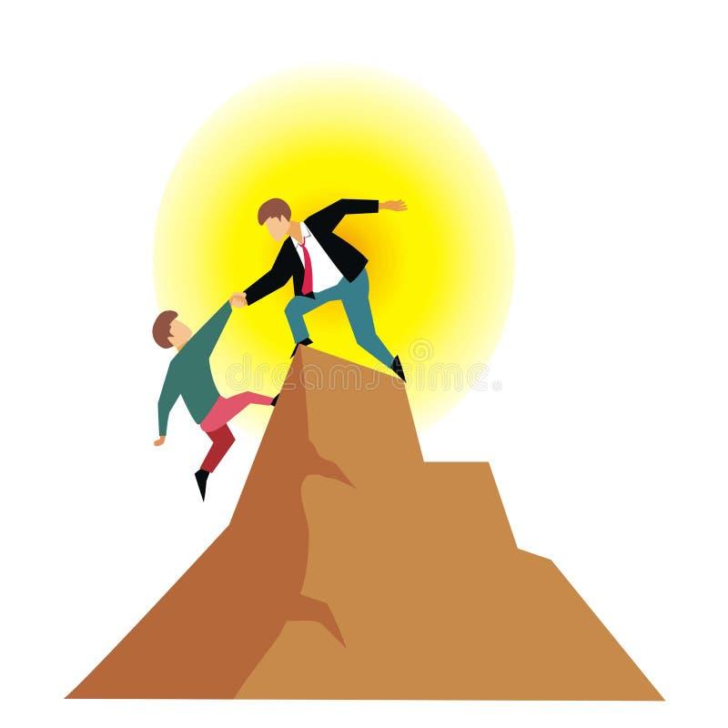 Ένα άτομο βοηθά άλλου για να αναρριχηθεί στο βουνό για να πάρει την επιτυχία ελεύθερη απεικόνιση δικαιώματος