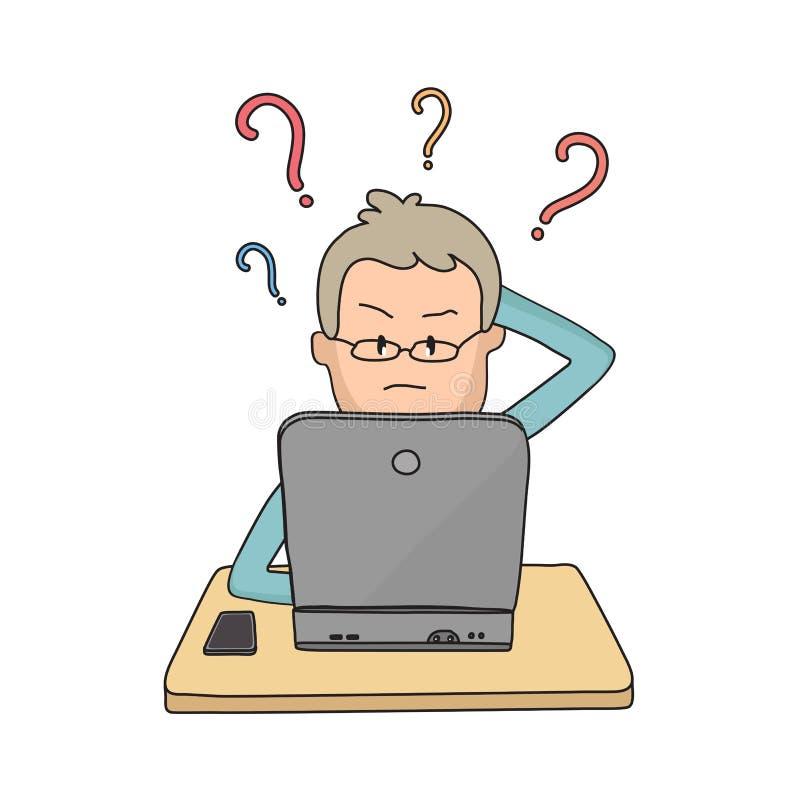 Ένα άτομο κάθεται σε ένα lap-top και προσπαθεί να το λογαριάσει έξω ελεύθερη απεικόνιση δικαιώματος