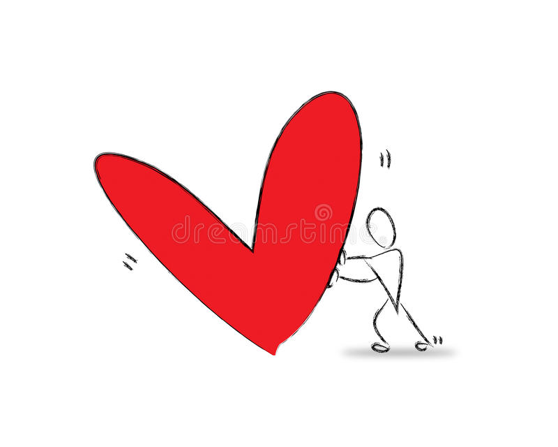 Download Ένα άτομο και μια κόκκινη καρδιά Απεικόνιση αποθεμάτων - εικονογραφία από ευτυχής, αγάπη: 22781838