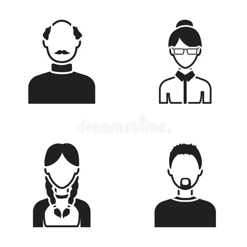 Ένα άτομο με μια γενειάδα, μια επιχειρηματίας, ένα κορίτσι πλεξίδων, ένα φαλακρό άτομο με ένα mustache Καθορισμένα εικονίδια συλλ διανυσματική απεικόνιση