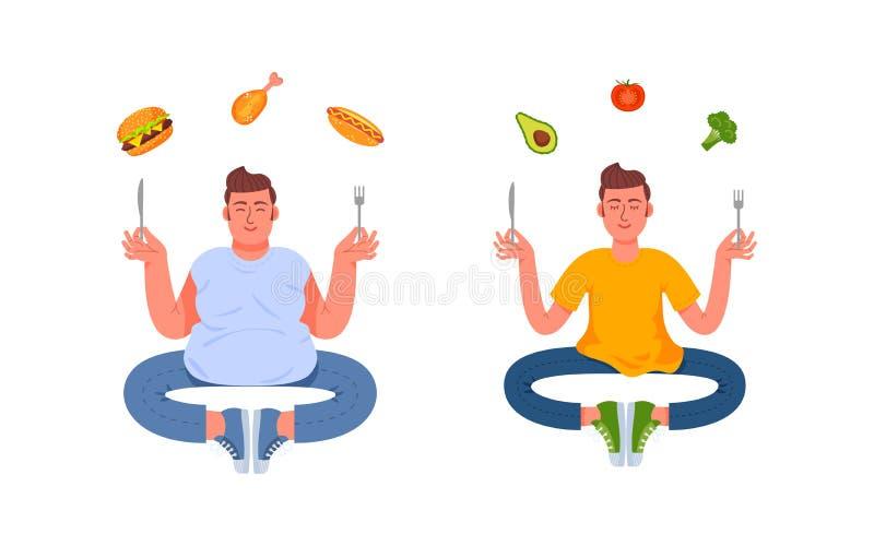 Ένα άτομο με ένα υγιές γεύμα και ένα άτομο με ένα άχρηστο φαγητό απεικόνιση αποθεμάτων