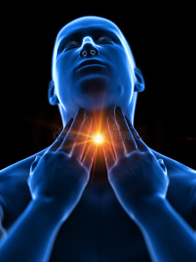 Ένα άτομο που έχει έναν επώδυνο λαιμό ελεύθερη απεικόνιση δικαιώματος