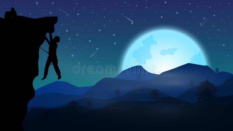 Ένα άτομο που αναρριχείται στο βουνό τη νύχτα νύχτα της πανσελήνου και του αστεριού fal διανυσματική απεικόνιση