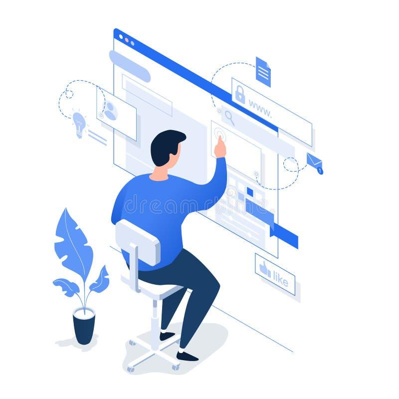 Ένα άτομο που εργάζεται στο διαδίκτυο σε ένα ελαφρύ υπόβαθρο διανυσματική απεικόνιση