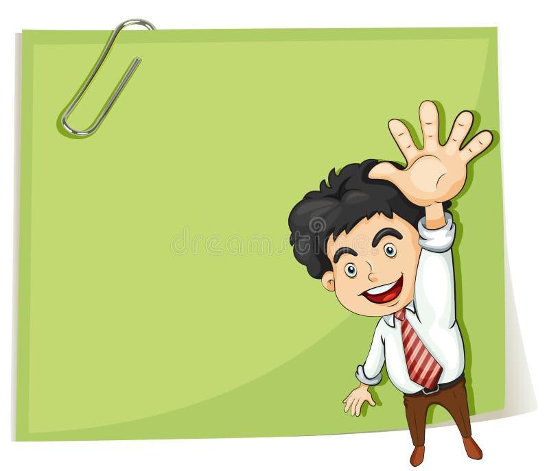 Ένα άτομο που κάνει ένα σήμα χεριών μπροστά από το μεγάλο κενό πρότυπο ελεύθερη απεικόνιση δικαιώματος