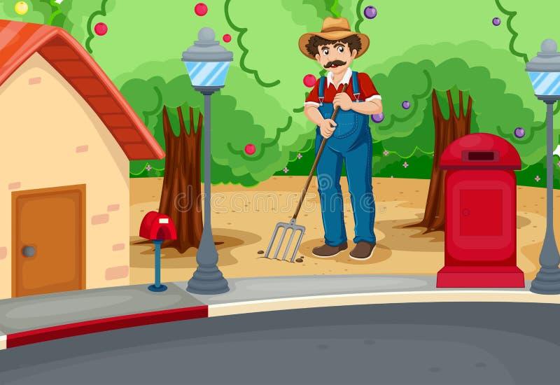 Ένα άτομο που μαζεύει με τη τσουγκράνα το χώμα κοντά στο δρόμο διανυσματική απεικόνιση