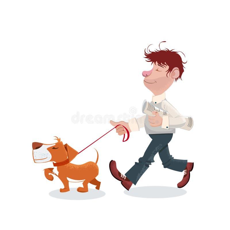Ένα άτομο που περπατά με το σκυλί του διανυσματική απεικόνιση