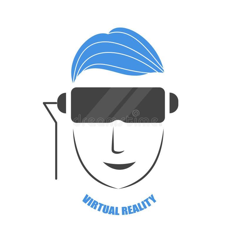 Ένα άτομο που φορά τα γυαλιά του vr παίζει ένα παιχνίδι διανυσματική απεικόνιση