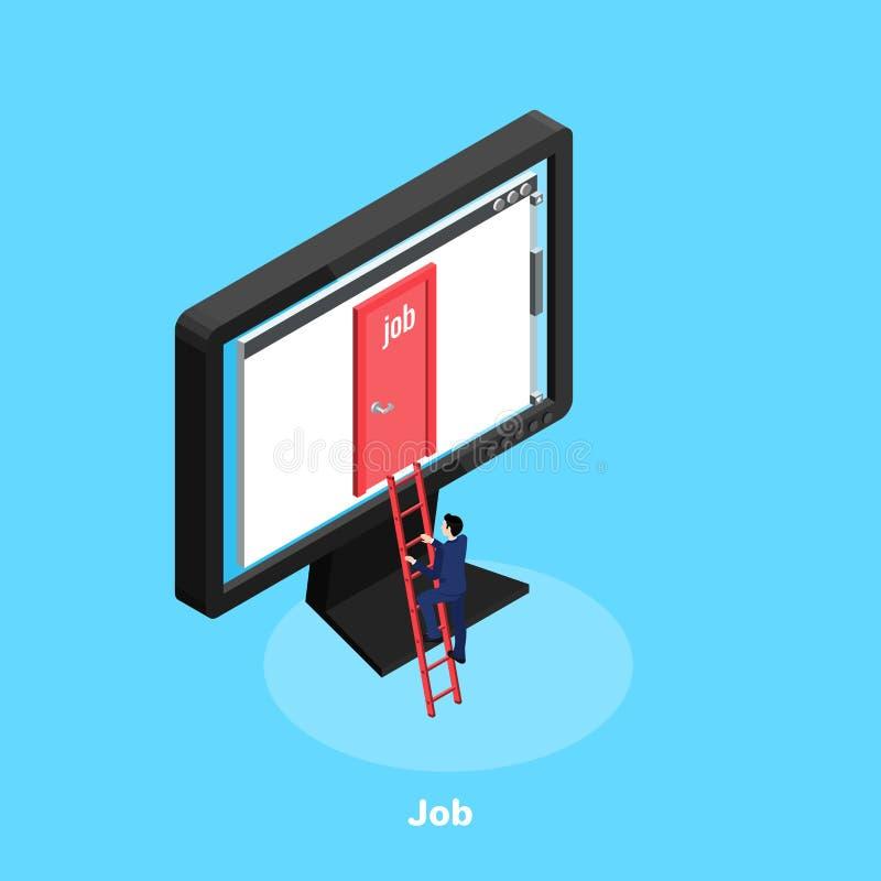 Ένα άτομο σε ένα επιχειρησιακό κοστούμι αναρριχείται στα σκαλοπάτια στο όργανο ελέγχου, που εργάζεται στο διαδίκτυο απεικόνιση αποθεμάτων