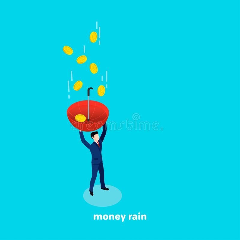 Ένα άτομο σε ένα επιχειρησιακό κοστούμι με μια ομπρέλα στο χέρι του πιάνει τα μειωμένα χρήματα διανυσματική απεικόνιση