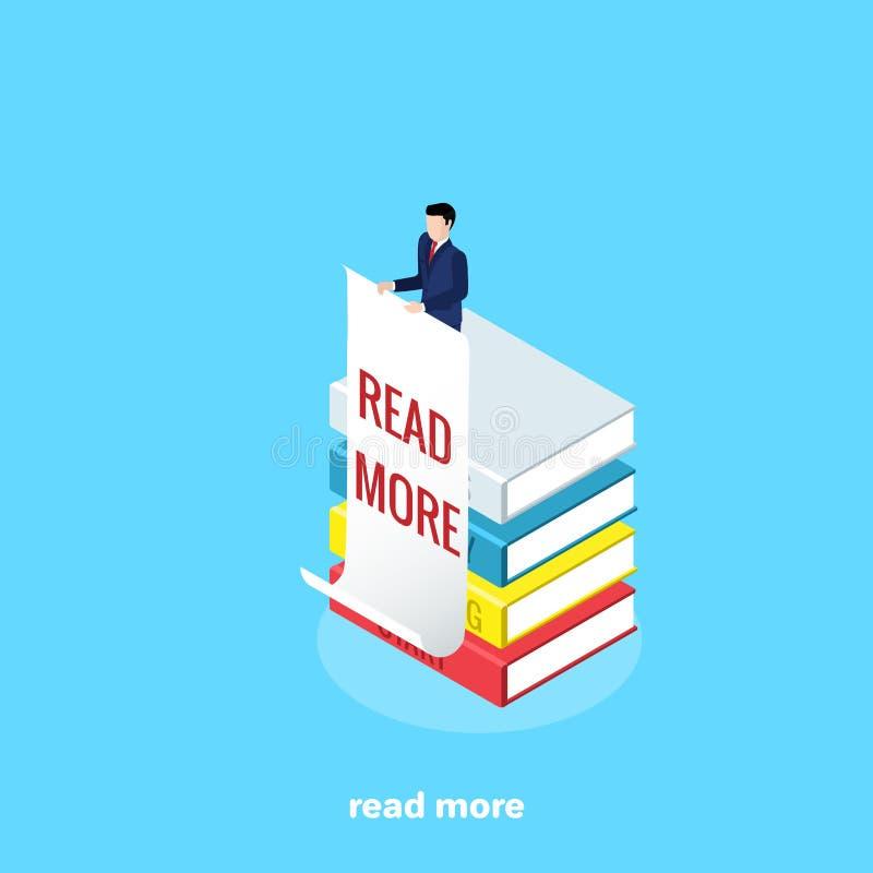 Ένα άτομο σε ένα επιχειρησιακό κοστούμι στέκεται σε έναν σωρό των βιβλίων με μια αφίσα του σε ετοιμότητα το οποίο γράφεται περισσ απεικόνιση αποθεμάτων