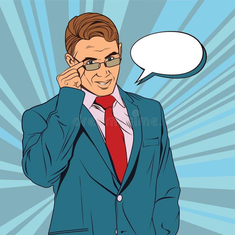 Ένα άτομο σε ένα κοστούμι γραφείων με έναν δεσμό Κοιτάζει από κάτω από τα γυαλιά και τα κρατά με το χέρι ελεύθερη απεικόνιση δικαιώματος