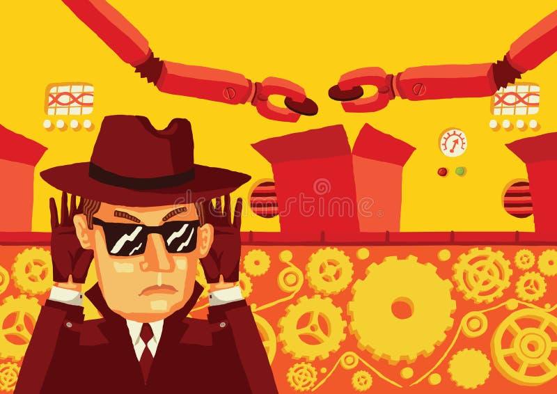 Ένα άτομο στα γυαλιά ηλίου και ένα καπέλο ελέγχει κρυφά την παραγωγή και κλέβει τα ευαίσθητα στοιχεία ελεύθερη απεικόνιση δικαιώματος