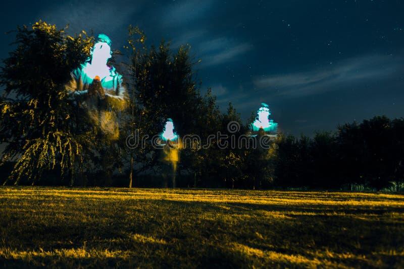 Ένα άτομο στις θέσεις δέντρων στη μακροχρόνια έκθεση νύχτας στοκ φωτογραφίες