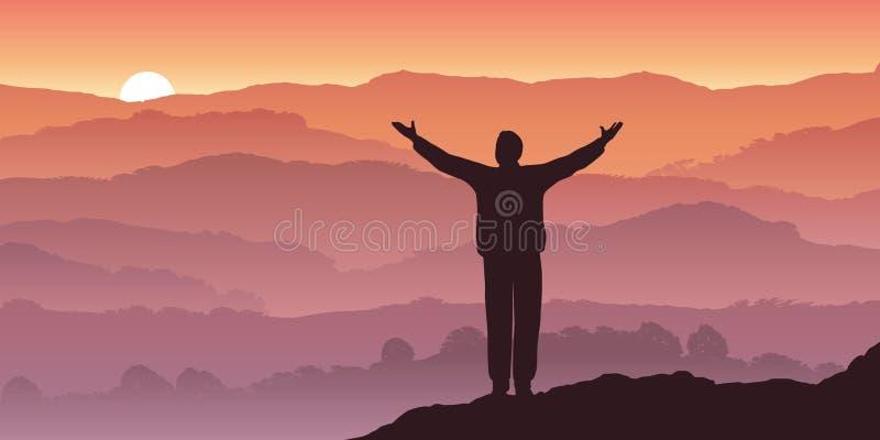 Ένα άτομο συλλογίζεται ένα ηλιοβασίλεμα πέρα από το πανόραμα ενός τοπίου βουνών διανυσματική απεικόνιση