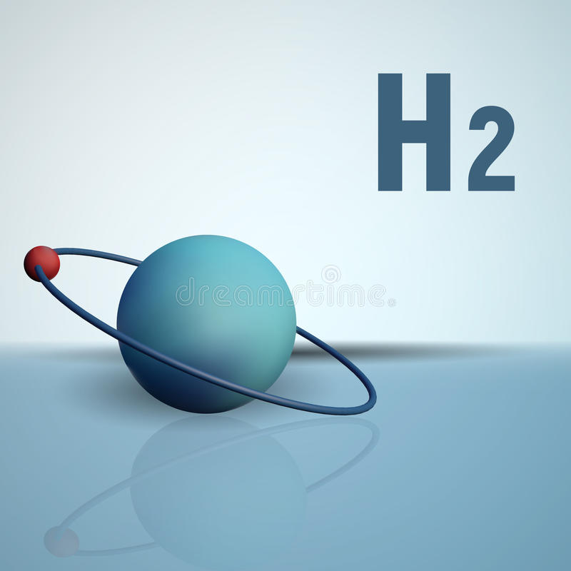 Ένα άτομο υδρογόνου με ένα ηλεκτρόνιο Χημικό πρότυπο του μορίου ελεύθερη απεικόνιση δικαιώματος