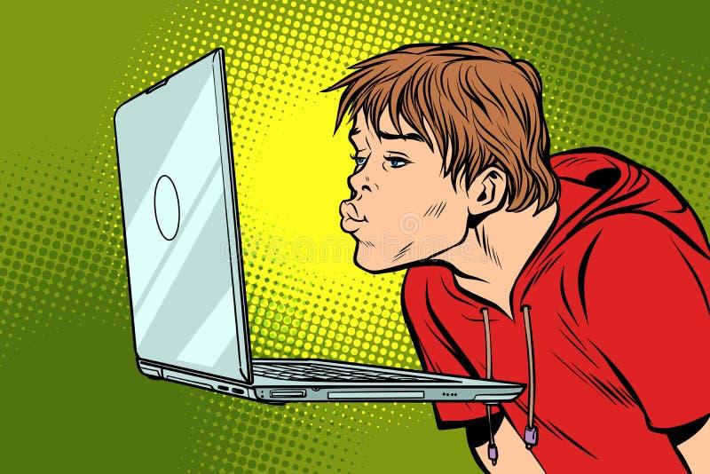 Ένα άτομο φιλά τη οθόνη υπολογιστή απεικόνιση αποθεμάτων