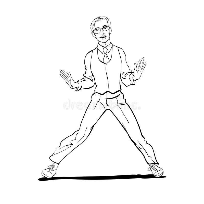 Ένα άτομο χορεύοντας Τσάρλεστον Λαϊκή απεικόνιση ύφους τέχνης αναδρομική στοκ εικόνες