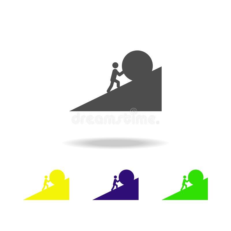 ένα άτομο ωθεί τα μια χρωματισμένα πέτρα εικονίδια Στοιχείο της υπερνικημένης απεικόνισης πρόκλησης Εικονίδιο συλλογής σημαδιών κ ελεύθερη απεικόνιση δικαιώματος