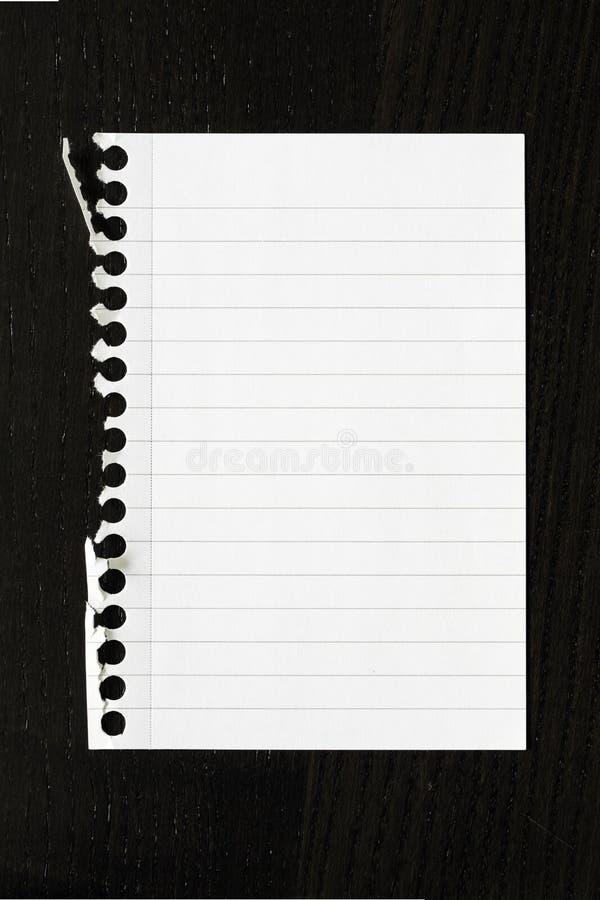 Ένα έγγραφο από το σημειωματάριο στοκ εικόνα