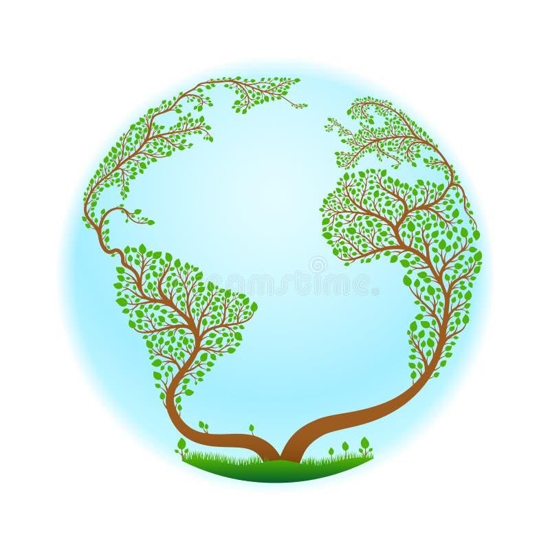 Ένα δέντρο τυποποιημένο υπό μορφή πλανήτη Γη επίσης corel σύρετε το διάνυσμα απεικόνισης διανυσματική απεικόνιση