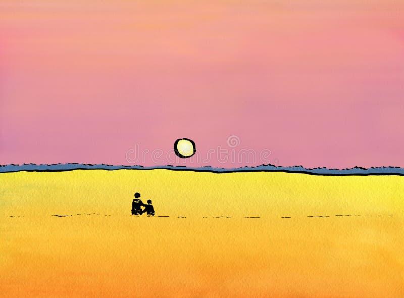 Ένα αγαπώντας ζεύγος που προσέχει ένα ηλιοβασίλεμα στοκ εικόνα με δικαίωμα ελεύθερης χρήσης